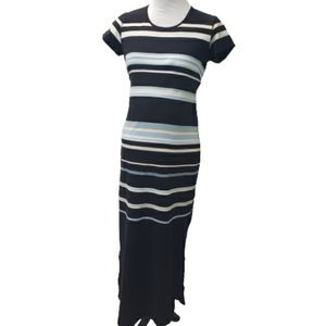 Mimi Maternity Long Dress Striped Short Sleeve